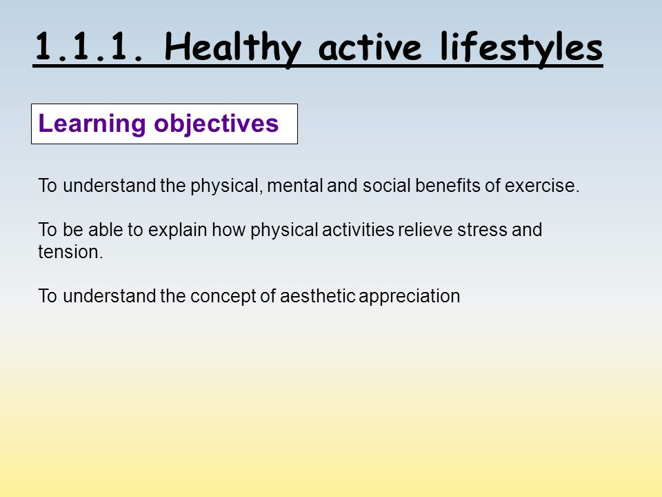 benefits of a healthy active lifestyle