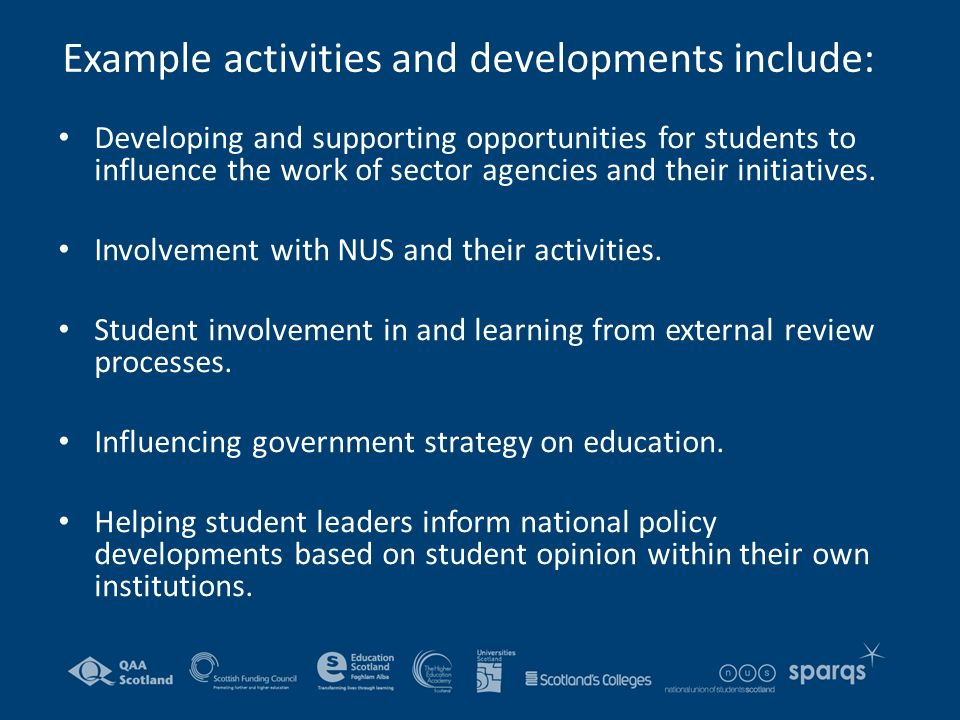 Example activities and developments include: Developing and supporting opportunities for students to influence the work of sector agencies and their initiatives.