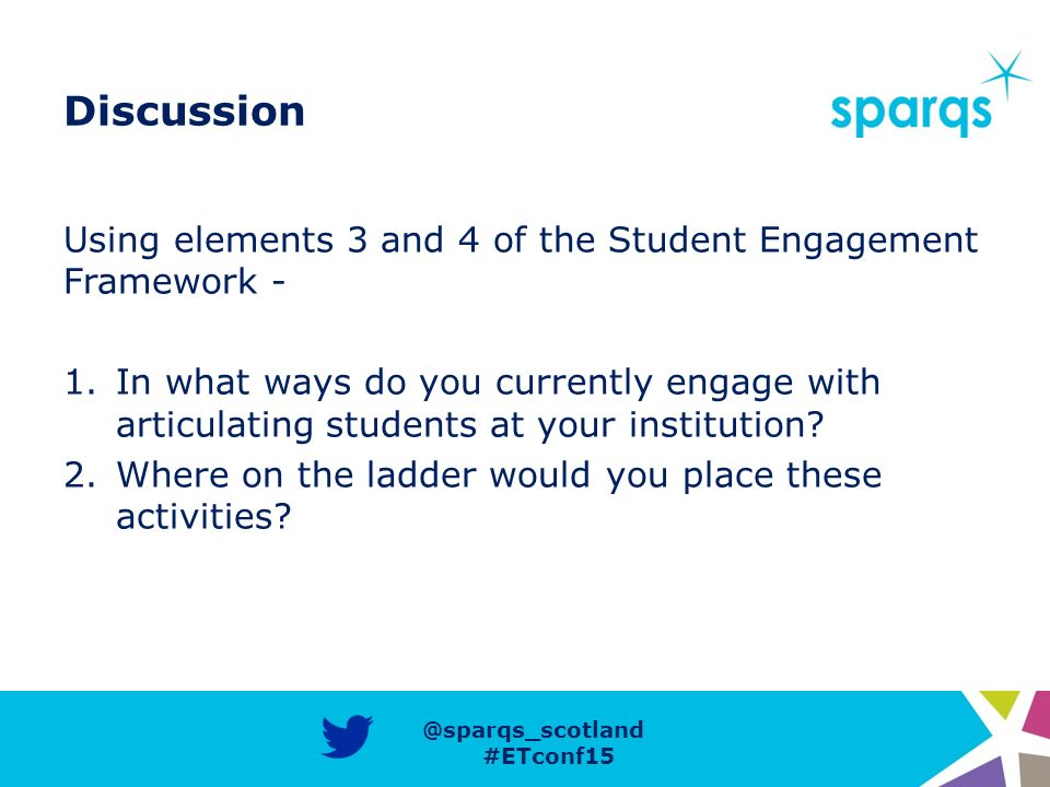 @sparqs_scotland #ETconf15 Discussion Using elements 3 and 4 of the Student Engagement Framework - 1.In what ways do you currently engage with articulating students at your institution.