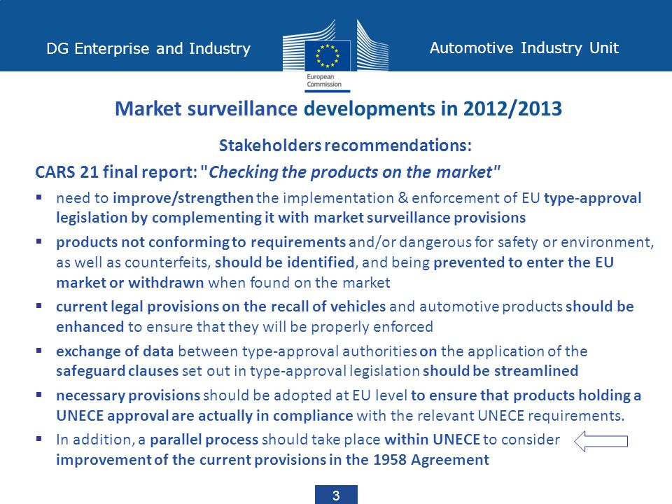 DG Enterprise and Industry Automotive Industry Unit 3 Stakeholders recommendations: CARS 21 final report: Checking the products on the market  need to improve/strengthen the implementation & enforcement of EU type-approval legislation by complementing it with market surveillance provisions  products not conforming to requirements and/or dangerous for safety or environment, as well as counterfeits, should be identified, and being prevented to enter the EU market or withdrawn when found on the market  current legal provisions on the recall of vehicles and automotive products should be enhanced to ensure that they will be properly enforced  exchange of data between type-approval authorities on the application of the safeguard clauses set out in type-approval legislation should be streamlined  necessary provisions should be adopted at EU level to ensure that products holding a UNECE approval are actually in compliance with the relevant UNECE requirements.