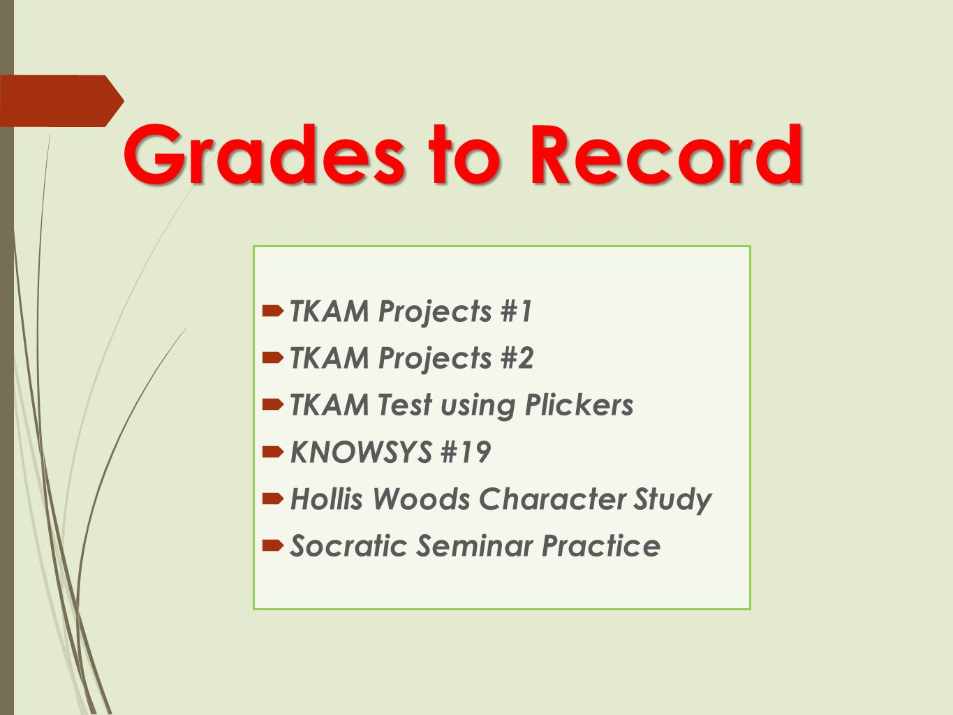 Grades to Record  TKAM Projects #1  TKAM Projects #2  TKAM Test using Plickers  KNOWSYS #19  Hollis Woods Character Study  Socratic Seminar Practice