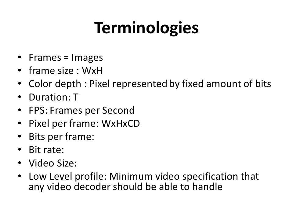 Video Processing Dinesh Ganotra. Terminologies Frames = Images frame ...