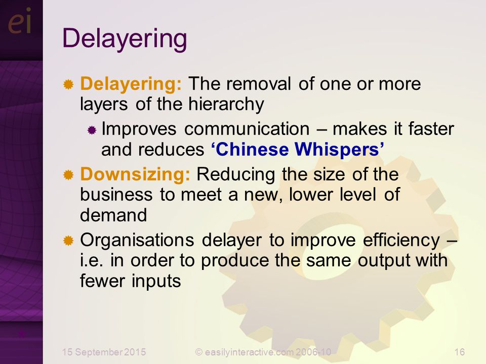 delayering and downsizing Delayering is a key tool or appr a brief introduction here to the concept of delayering - which involves the removal of layers in the organisational hierarchy slideshare uses cookies to improve functionality and performance, and to provide you with relevant advertising.