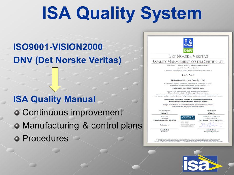 ISA Quality System  ISO9001-VISION2000 DNV (Det Norske