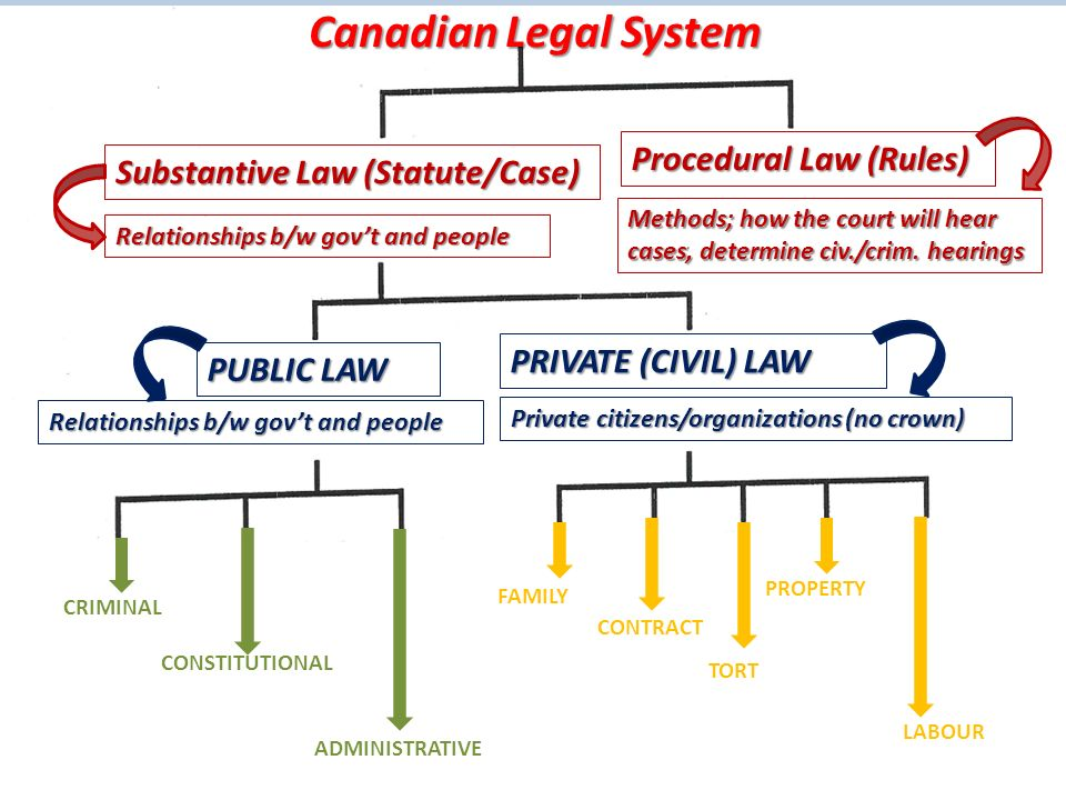 Canadian Legal System Substantive Law (Statute/Case) PUBLIC LAW PRIVATE (CIVIL) LAW Procedural Law (Rules) CRIMINAL CONSTITUTIONAL ADMINISTRATIVE FAMILY CONTRACT TORT PROPERTY LABOUR Relationships b/w gov't and people Private citizens/organizations (no crown) Relationships b/w gov't and people Methods; how the court will hear cases, determine civ./crim.