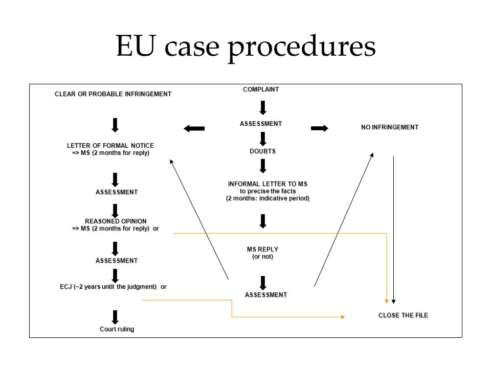 EU case procedures ASSESSMENT DOUBTSCOMPLAINT NO INFRINGEMENT CLEAR OR PROBABLE INFRINGEMENT LETTER OF FORMAL NOTICE => MS (2 months for reply) REASONED OPINION => MS (2 months for reply) or ECJ (~2 years until the judgment) or Court ruling ASSESSMENT CLOSE THE FILE INFORMAL LETTER TO MS to precise the facts (2 months: indicative period) MS REPLY (or not) ASSESSMENT ASSESSMENT