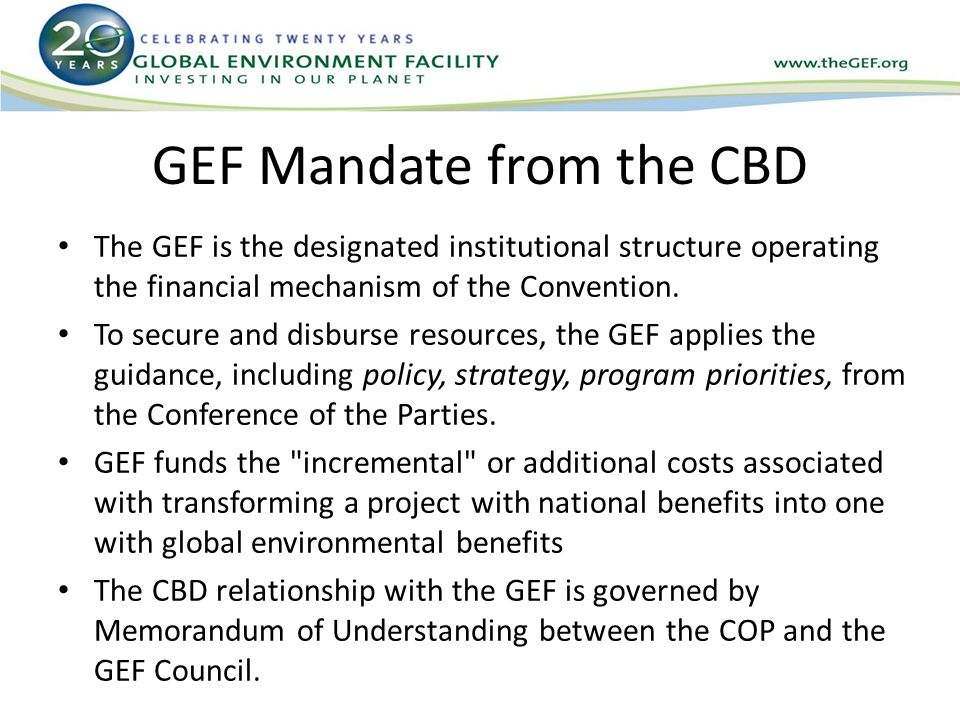 GEF Mandate from the CBD The GEF is the designated institutional structure operating the financial mechanism of the Convention.