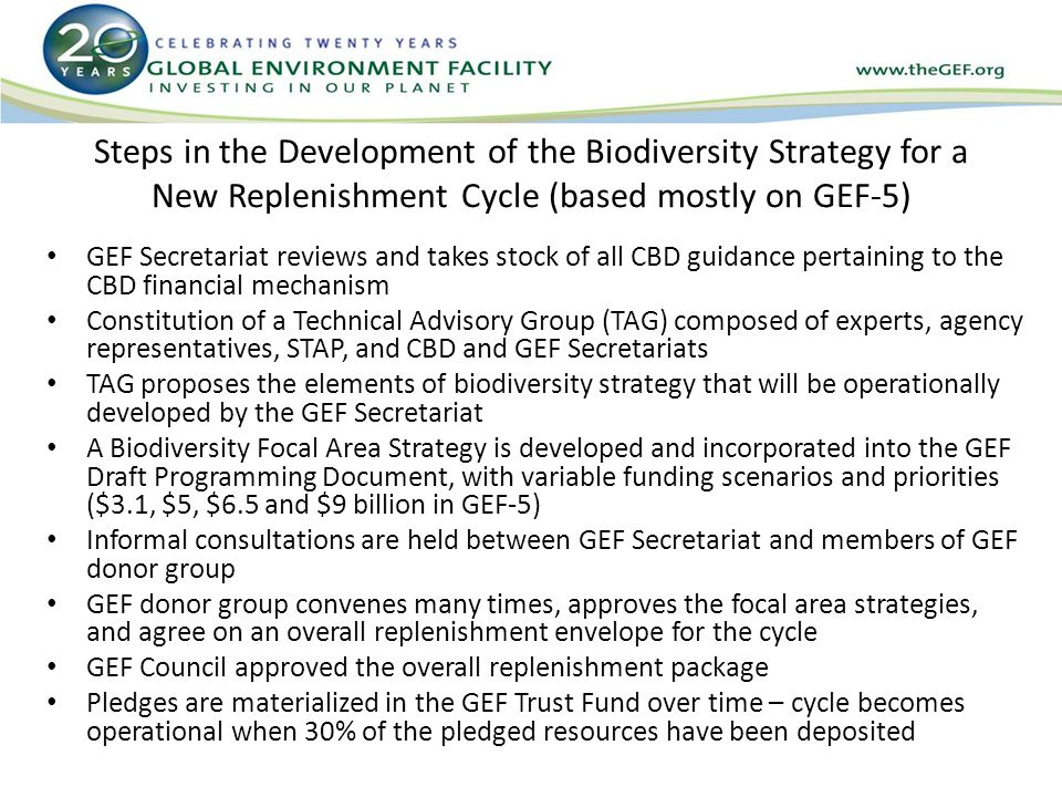 Steps in the Development of the Biodiversity Strategy for a New Replenishment Cycle (based mostly on GEF-5) GEF Secretariat reviews and takes stock of all CBD guidance pertaining to the CBD financial mechanism Constitution of a Technical Advisory Group (TAG) composed of experts, agency representatives, STAP, and CBD and GEF Secretariats TAG proposes the elements of biodiversity strategy that will be operationally developed by the GEF Secretariat A Biodiversity Focal Area Strategy is developed and incorporated into the GEF Draft Programming Document, with variable funding scenarios and priorities ($3.1, $5, $6.5 and $9 billion in GEF-5) Informal consultations are held between GEF Secretariat and members of GEF donor group GEF donor group convenes many times, approves the focal area strategies, and agree on an overall replenishment envelope for the cycle GEF Council approved the overall replenishment package Pledges are materialized in the GEF Trust Fund over time – cycle becomes operational when 30% of the pledged resources have been deposited