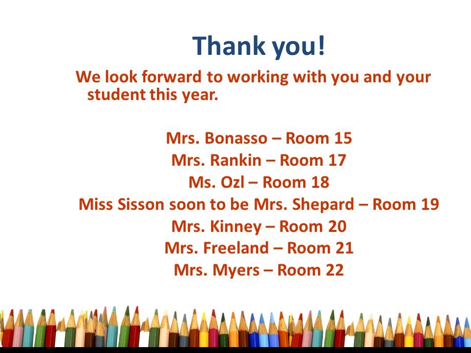 We look forward to working with you and your student this year.
