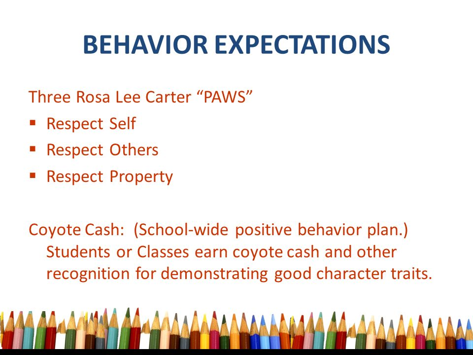 BEHAVIOR EXPECTATIONS Three Rosa Lee Carter PAWS  Respect Self  Respect Others  Respect Property Coyote Cash: (School-wide positive behavior plan.) Students or Classes earn coyote cash and other recognition for demonstrating good character traits.