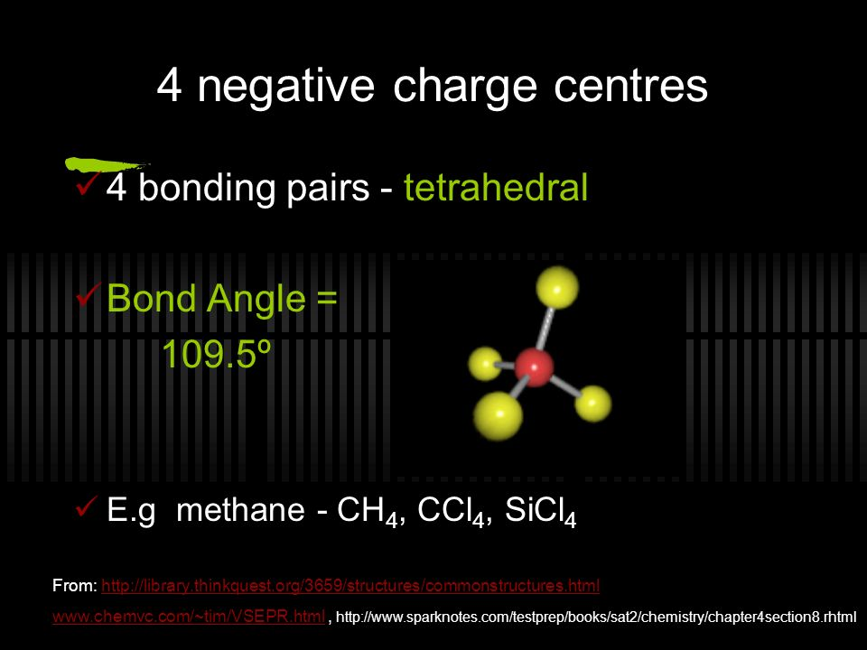 4 bonding pairs - tetrahedral Bond Angle = 109.5º E.g methane - CH 4, CCl 4, SiCl 4 4 negative charge centres From: