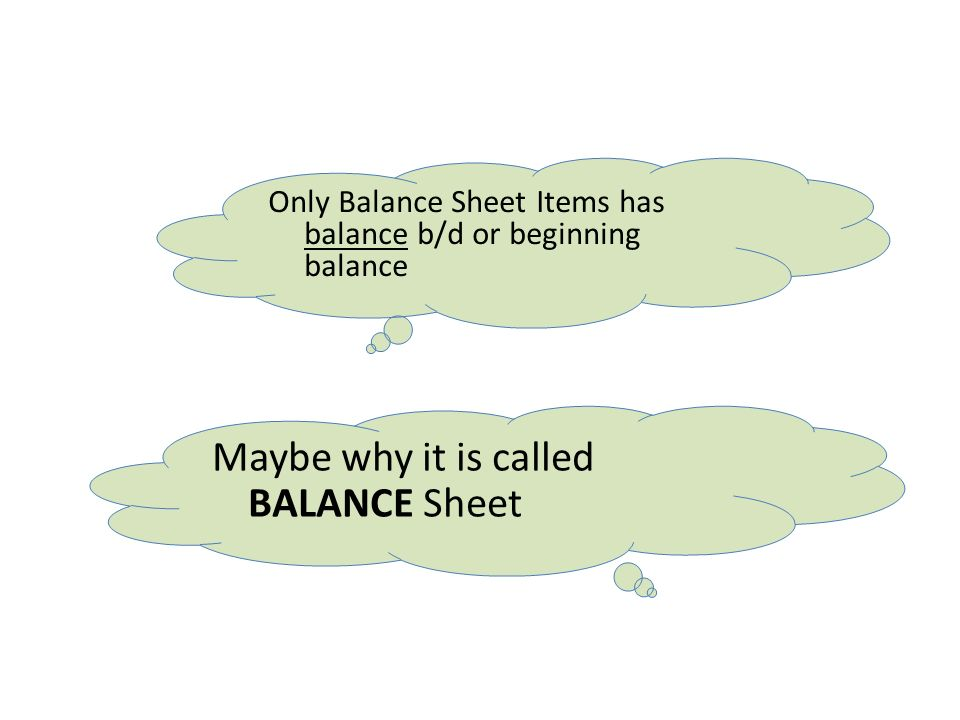 Only Balance Sheet Items has balance b/d or beginning balance Maybe why it is called BALANCE Sheet
