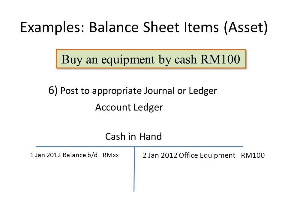 Examples: Balance Sheet Items (Asset) 2 Jan 2012 Office Equipment RM100 6) Post to appropriate Journal or Ledger Buy an equipment by cash RM100 Cash in Hand 1 Jan 2012 Balance b/d RMxx Account Ledger