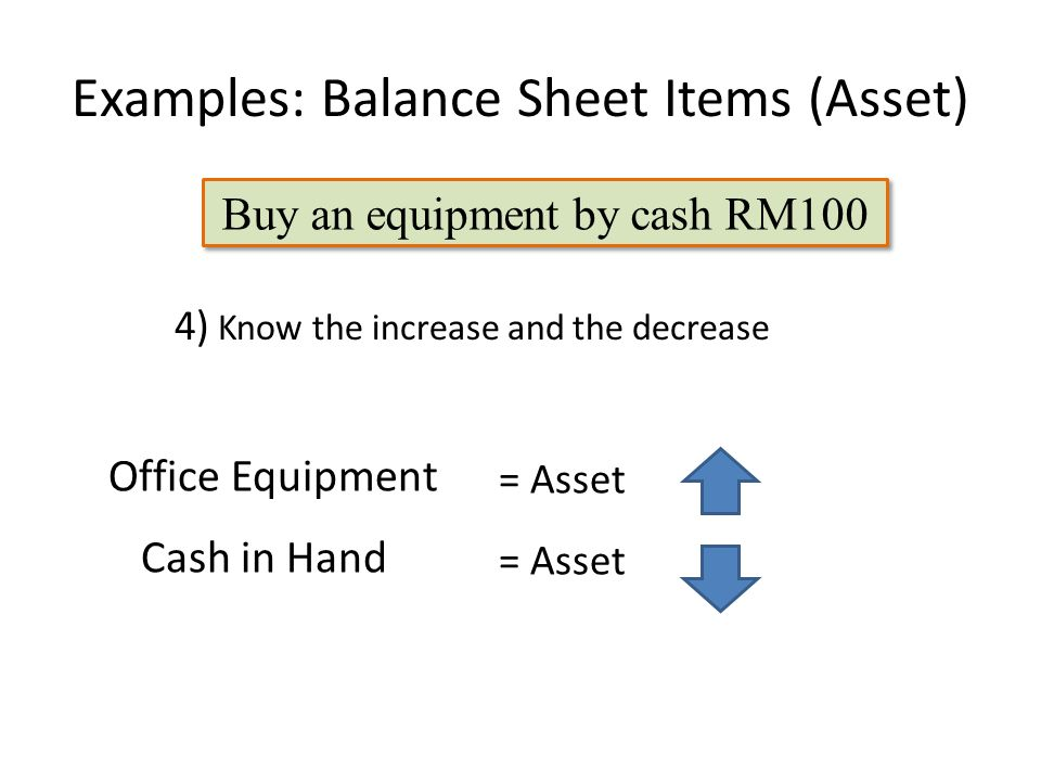 Examples: Balance Sheet Items (Asset) Office Equipment 4) Know the increase and the decrease Cash in Hand = Asset Buy an equipment by cash RM100