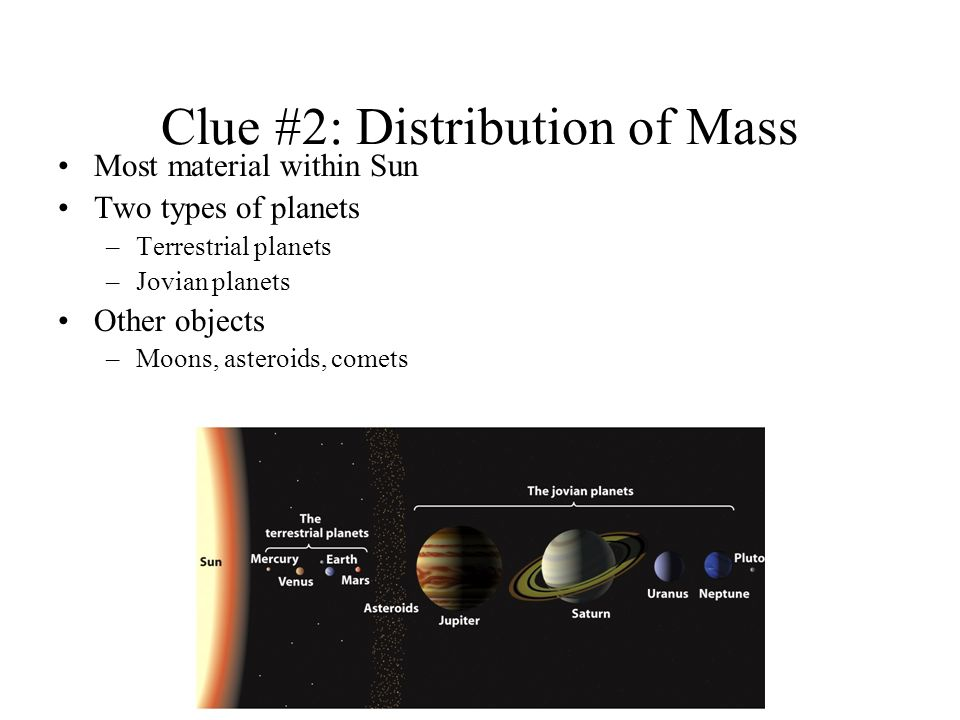 Clue #2: Distribution of Mass Most material within Sun Two types of planets –Terrestrial planets –Jovian planets Other objects –Moons, asteroids, comets