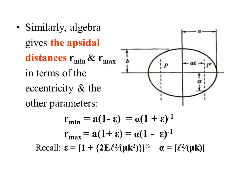 Similarly, algebra gives the apsidal distances r min & r max in terms of the eccentricity & the other parameters: r min = a(1- ε) = α (1 + ε) -1 r max = a(1+ ε) = α (1 - ε) -1 Recall: ε = [1 + {2E 2  (μk 2 )}] ½ α = [ 2  (μk)]