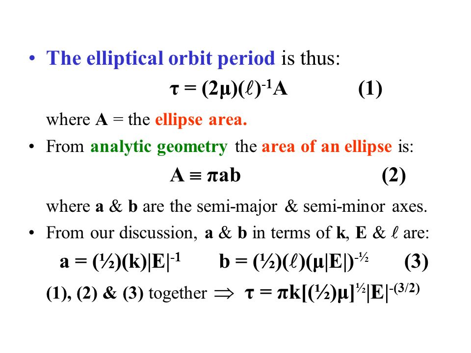 The elliptical orbit period is thus: τ = (2μ)( ) -1 A (1) where A = the ellipse area.
