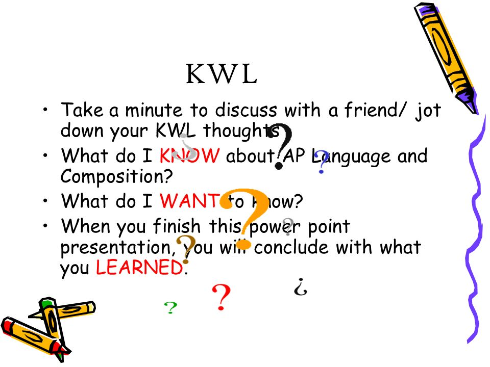 KWL Take a minute to discuss with a friend/ jot down your KWL thoughts What do I KNOW about AP Language and Composition.