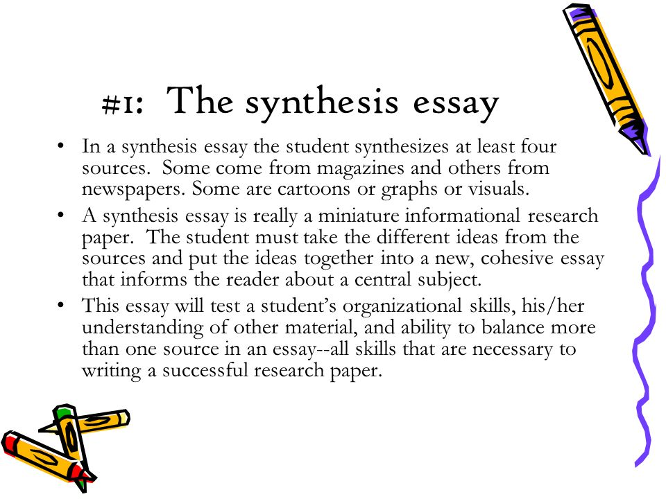 #1: The synthesis essay In a synthesis essay the student synthesizes at least four sources.