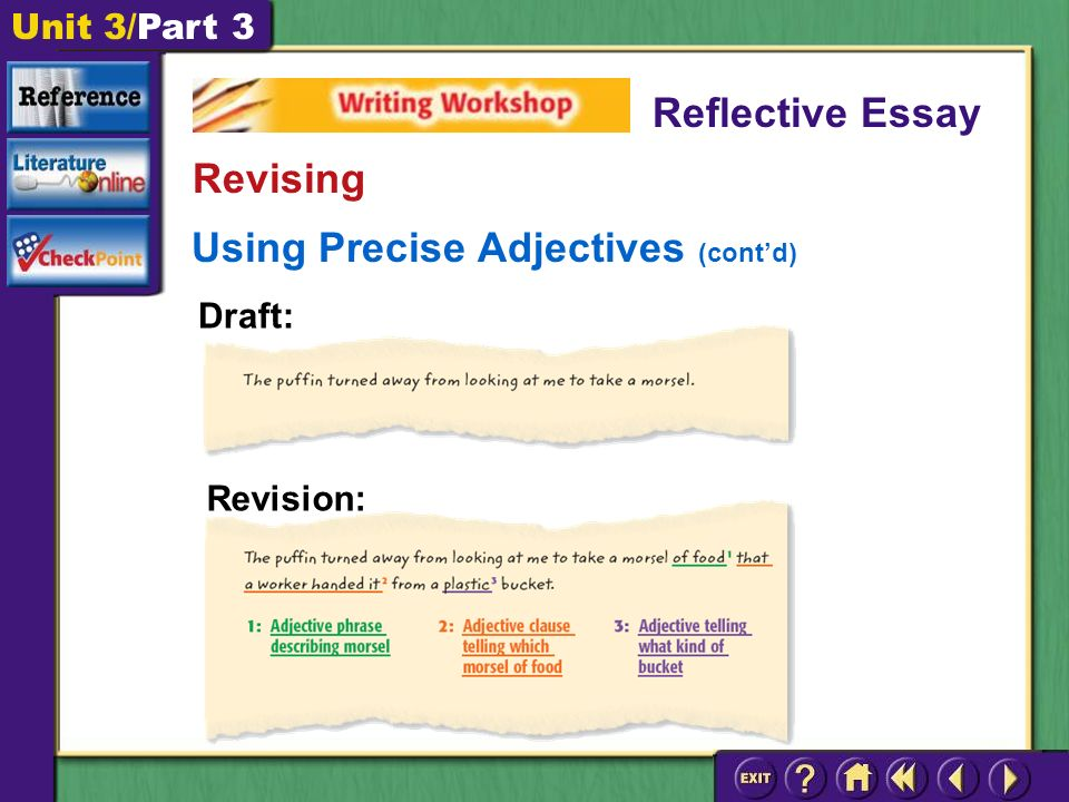 Unit 3/Part 3 Using Precise Adjectives (cont'd) Reflective Essay Revising Revision: Draft: