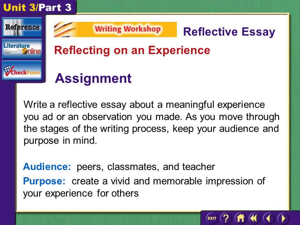 Unit 3/Part 3 Assignment Write a reflective essay about a meaningful experience you ad or an observation you made.