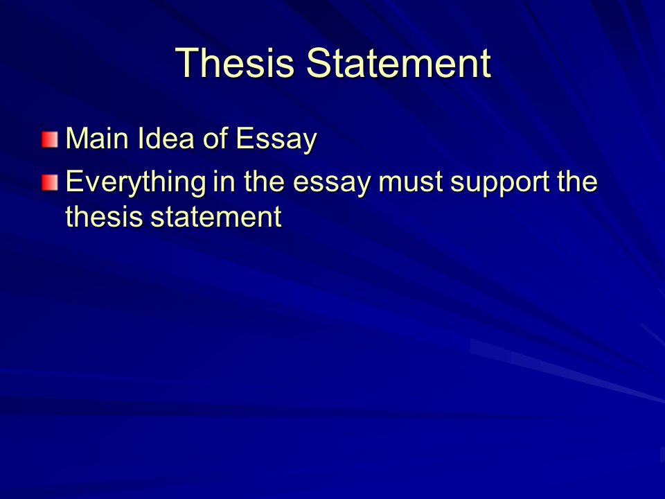 Thesis Statement Main Idea of Essay Everything in the essay must support the thesis statement