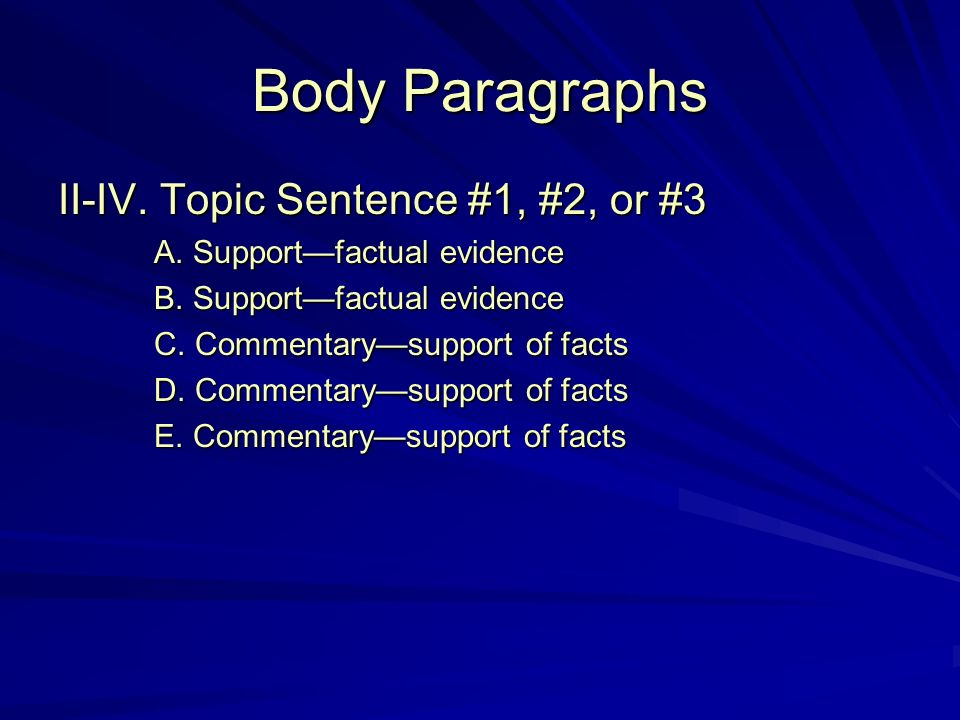 Body Paragraphs II-IV. Topic Sentence #1, #2, or #3 A.