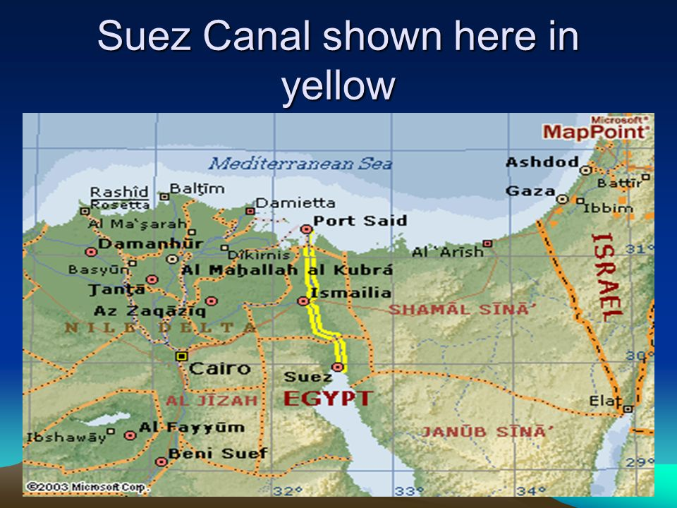 Suez Canal shown here in yellow