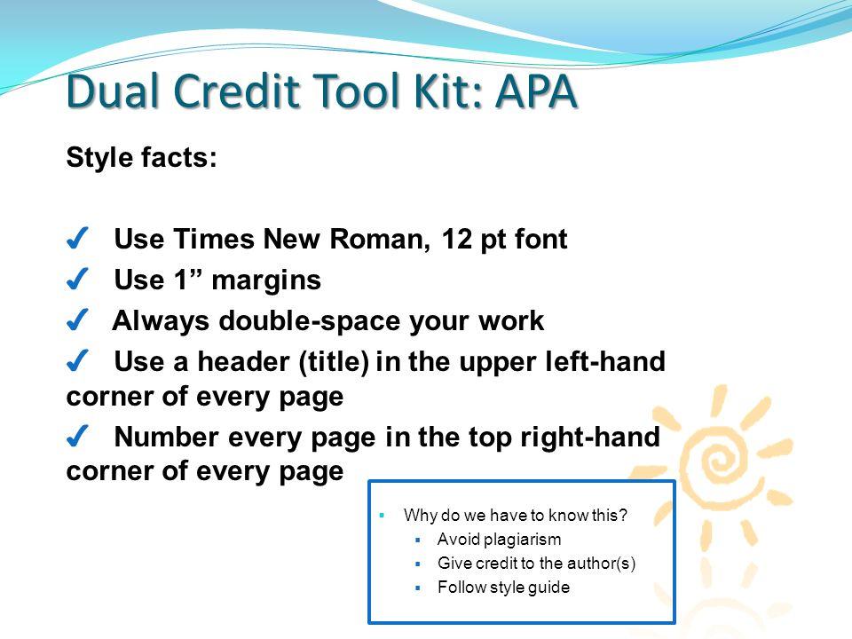 dual credit tool kit using apa formatting dual credit tool kit