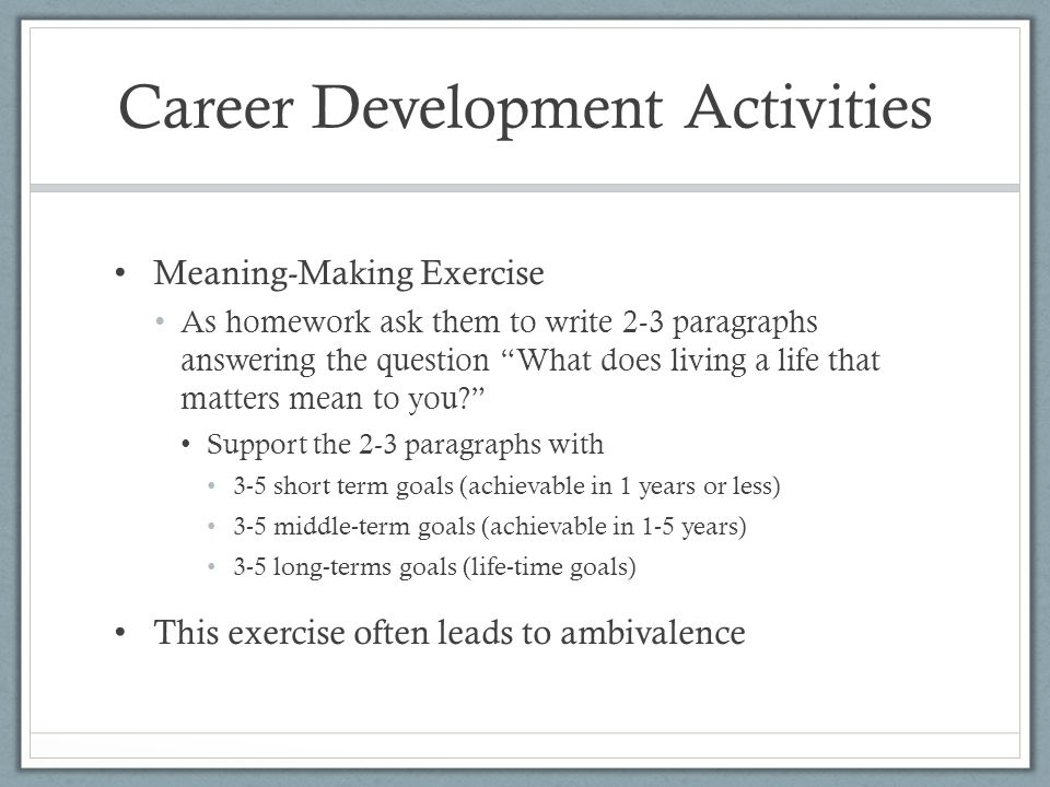 8 career development activities