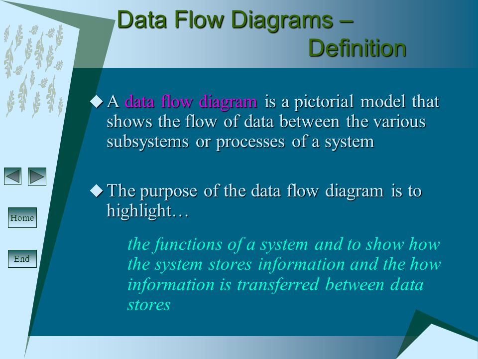 systems analysis design data flow diagrams end home data flow rh slideplayer com  pictorial diagram means