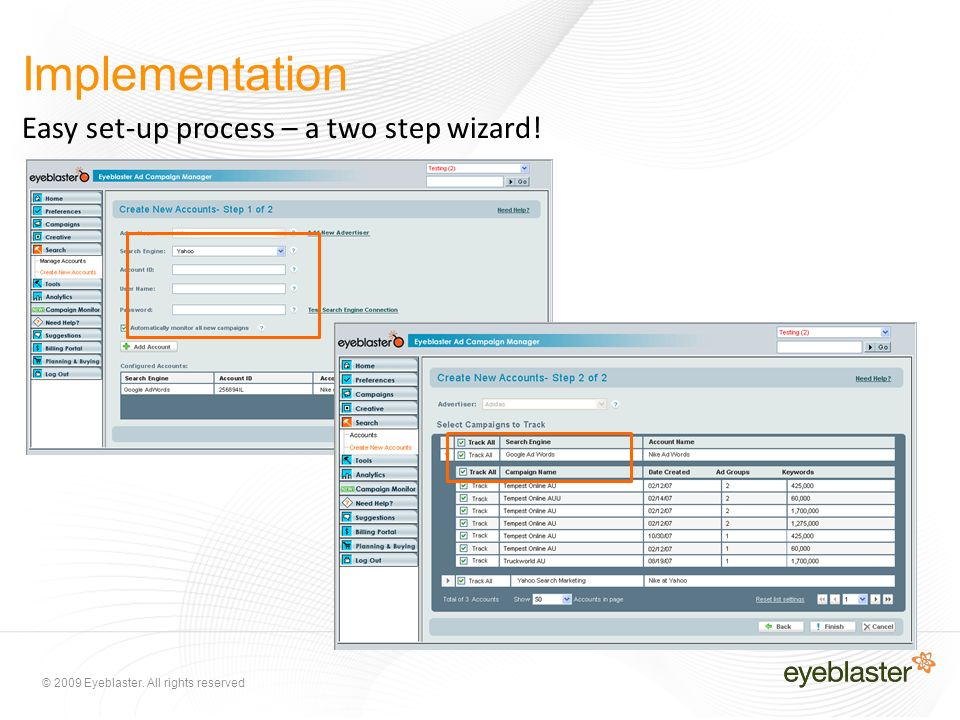 © 2009 Eyeblaster. All rights reserved Implementation Easy set-up process – a two step wizard!