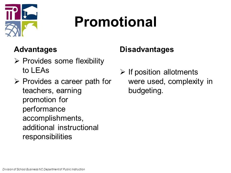 Promotional Advantages  Provides some flexibility to LEAs  Provides a career path for teachers, earning promotion for performance accomplishments, additional instructional responsibilities Disadvantages  If position allotments were used, complexity in budgeting.