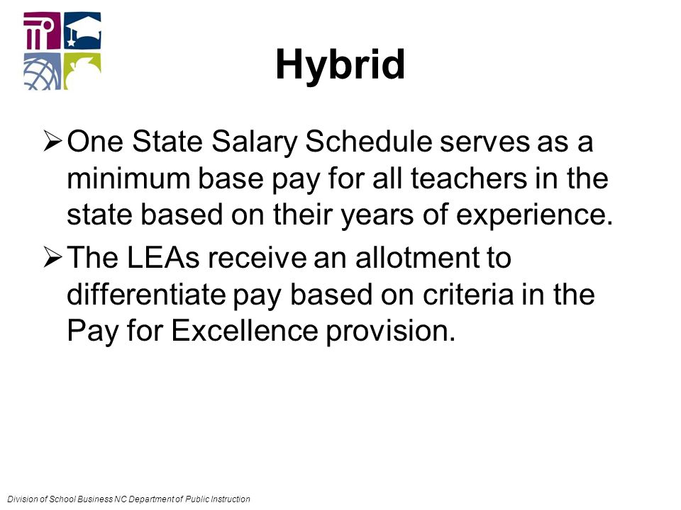 Hybrid  One State Salary Schedule serves as a minimum base pay for all teachers in the state based on their years of experience.