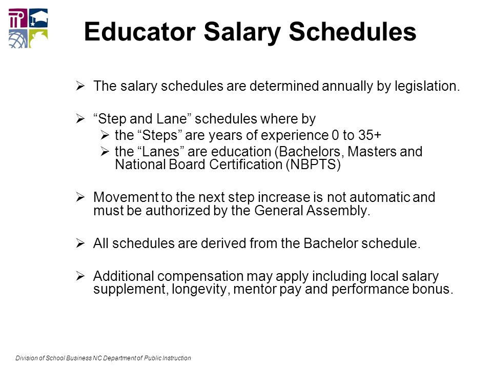 Educator Salary Schedules  The salary schedules are determined annually by legislation.