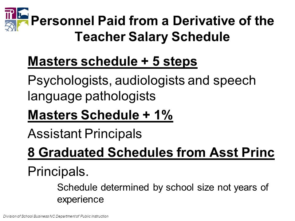 Personnel Paid from a Derivative of the Teacher Salary Schedule Masters schedule + 5 steps Psychologists, audiologists and speech language pathologists Masters Schedule + 1% Assistant Principals 8 Graduated Schedules from Asst Princ Principals.