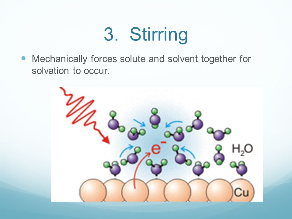 3. Stirring Mechanically forces solute and solvent together for solvation to occur.
