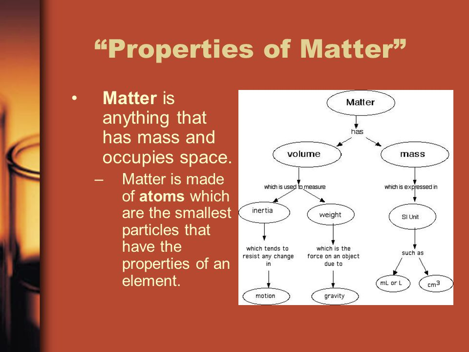 Properties of Matter Matter is anything that has mass and occupies space.