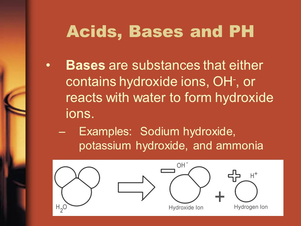 Acids, Bases and PH Bases are substances that either contains hydroxide ions, OH -, or reacts with water to form hydroxide ions.