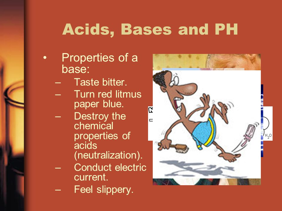Acids, Bases and PH Properties of a base: –Taste bitter.