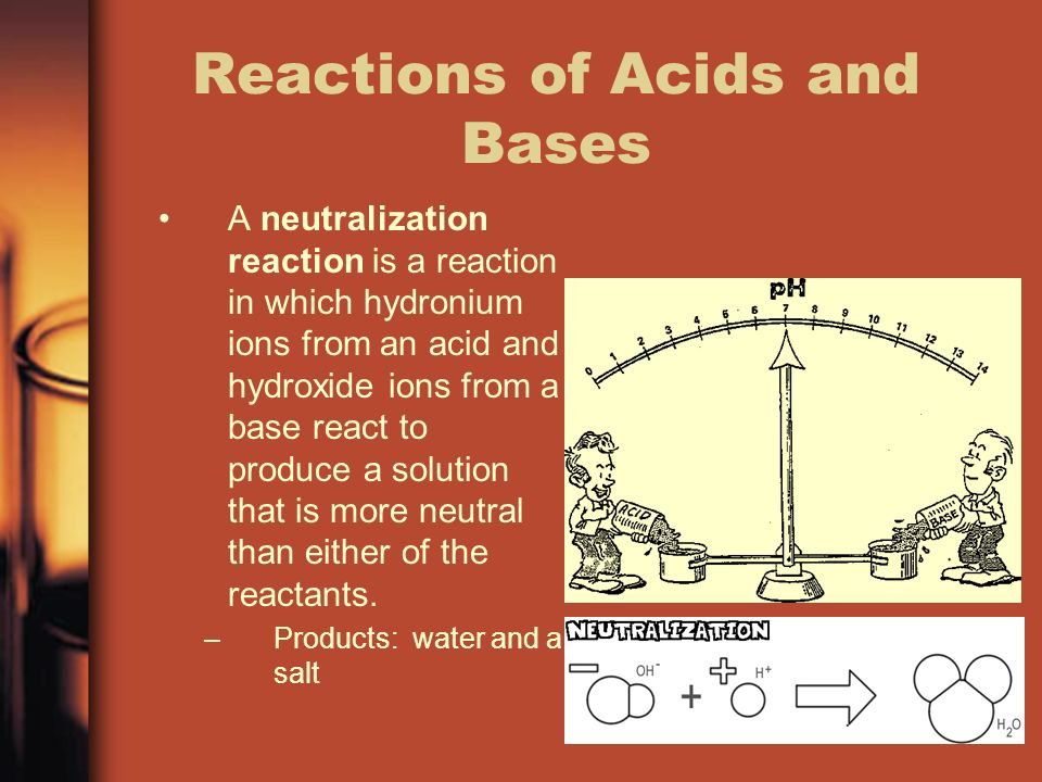 Reactions of Acids and Bases A neutralization reaction is a reaction in which hydronium ions from an acid and hydroxide ions from a base react to produce a solution that is more neutral than either of the reactants.