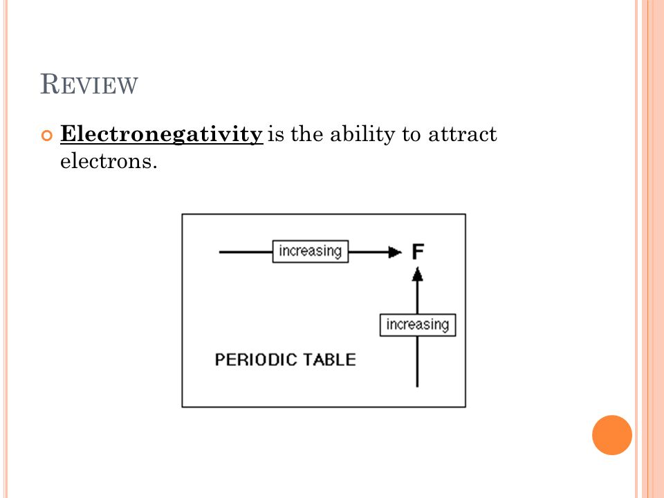 R EVIEW Electronegativity is the ability to attract electrons.