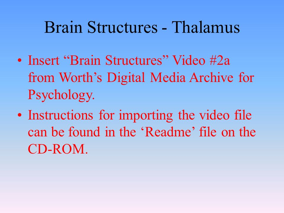 Brain Structures - Thalamus Insert Brain Structures Video #2a from Worth's Digital Media Archive for Psychology.