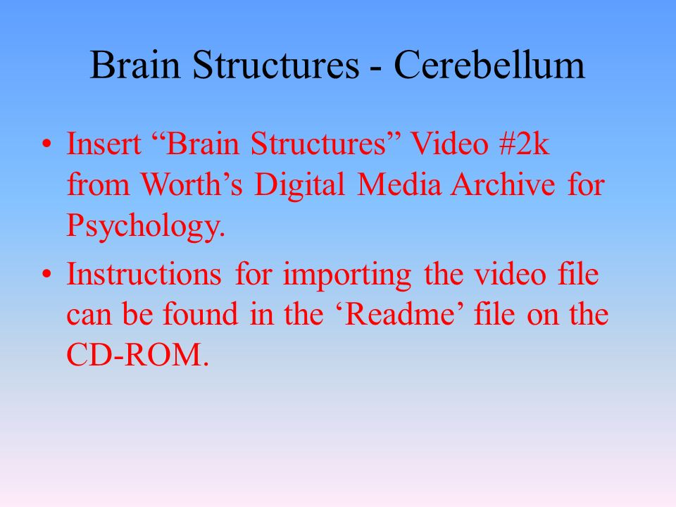 Brain Structures - Cerebellum Insert Brain Structures Video #2k from Worth's Digital Media Archive for Psychology.