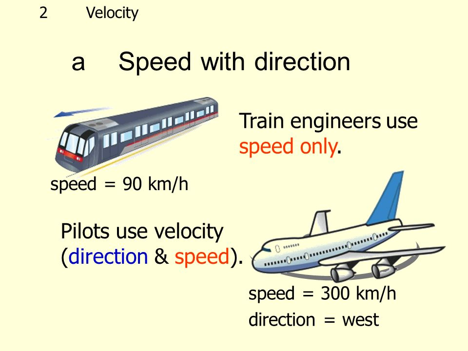 speed = 300 km/h direction = west Train engineers use speed only.