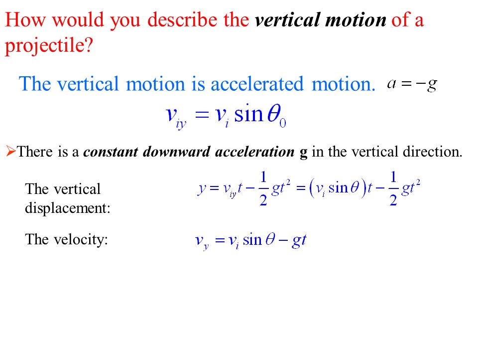 The vertical motion is accelerated motion.