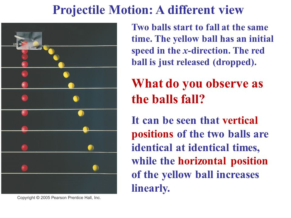 Projectile Motion: A different view Two balls start to fall at the same time.