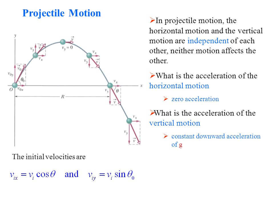 Projectile Motion  In projectile motion, the horizontal motion and the vertical motion are independent of each other, neither motion affects the other.