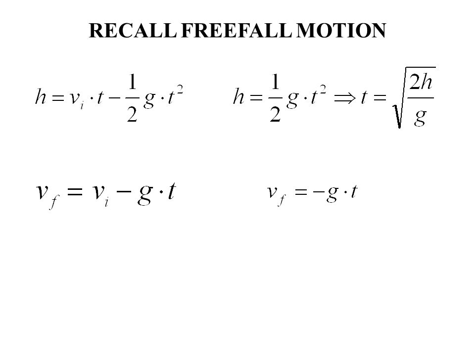 RECALL FREEFALL MOTION