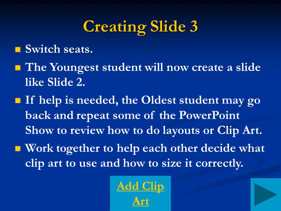 Creating Slide 3 Switch seats. The Youngest student will now create a slide like Slide 2.